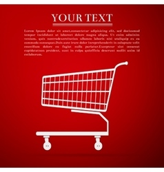 Shopping cart flat icon on red background vector