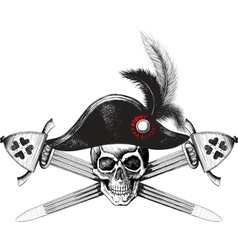 skull in the captain hat and two crossed swords vector image vector image