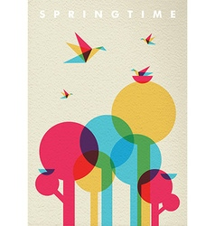 Spring time nature tree forest and birds vector