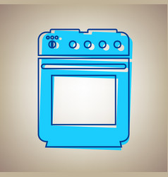 stove sign sky blue icon with defected vector image