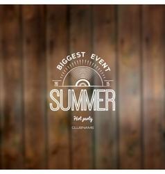 Summer biggest event label logo on wooden vector