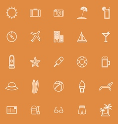 Summer line icons on orange background vector
