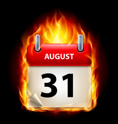thirty-first august in calendar burning icon on vector image