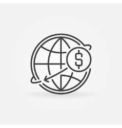 Transfer usd money online icon vector