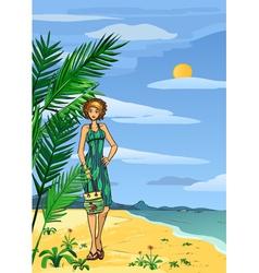 Woman on the beach vector