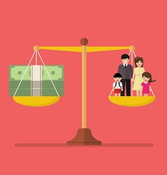 Work and Family balance on the scale vector image