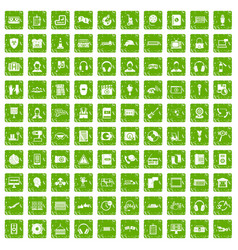 100 headphones icons set grunge green vector image
