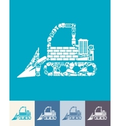Bulldozer icon vector