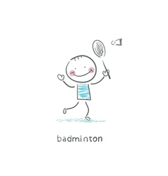 Man playing badminton vector