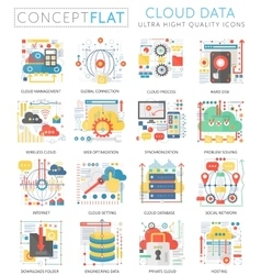 Infographics mini concept cloud data icons for web vector