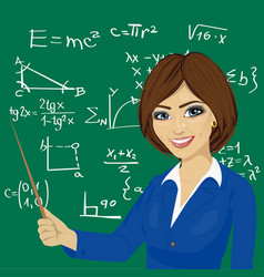 Young math teacher standing next to blackboard vector