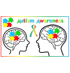 autism awareness child and adult graphic elements vector image