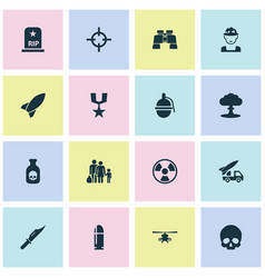 Combat icons set collection of dangerous atom vector