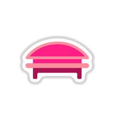 circular park bench in paper sticker style vector image