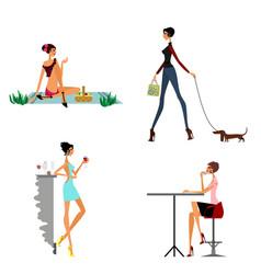 Four modern girls vector