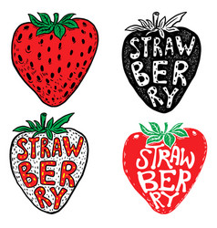 Hand drawn fresh strawberry labels isolated on vector
