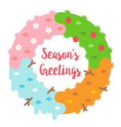 Flat design seasons greetings card with wreath vector