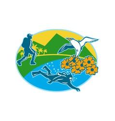 Scuba Diver Hiker Island Tropicbird Flowers Retro vector image