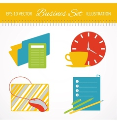 Business flat icons set vector image