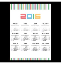 2016 simple business wall calendar color stripes vector image vector image