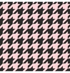 Houndstooth tile pastel pink and black pattern vector