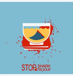 No blood shark finning soup poster vector