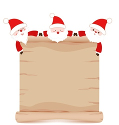 Santa claus and parchment sign funny vector