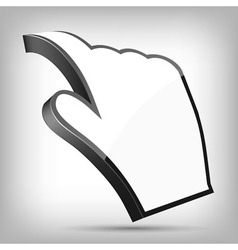 3D Curled Cursor Hand Pointer vector image