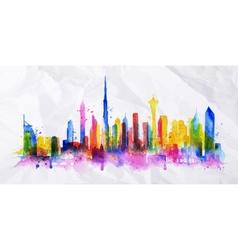 Silhouette overlay city Dubai vector image
