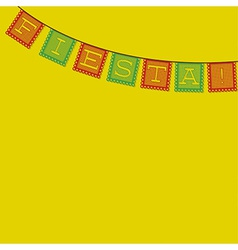 Mexican papel picado paper flag decoration card in vector