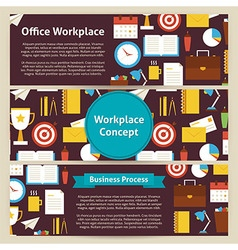 Office workplace concept template banners set in vector