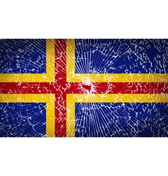 Flags aland with broken glass texture vector