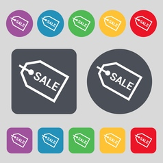 Sale icon sign a set of 12 colored buttons flat vector