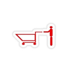 Icon sticker realistic design on paper man trolley vector