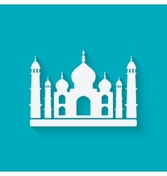 Taj mahal on blue background vector