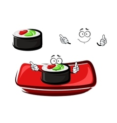Cartoon sushi roll with smoked salmon and rice vector