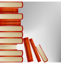 pile of books in an orange cover on gray backgroun vector image