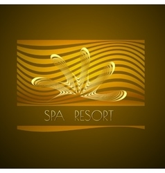 Spa themed design using golden line curve vector