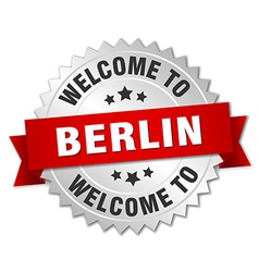 Berlin 3d silver badge with red ribbon vector