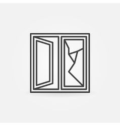 Cracked window linear icon vector
