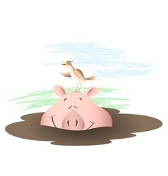 Animals country life pig in a puddle vector