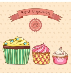 Beautiful card best cupcakes vector image vector image