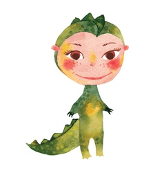 Child dressed as a crocodile vector
