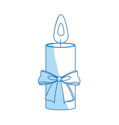 Christmas candle bow flame decoration icon vector