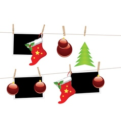 Christmas Stockings on Rope vector image vector image