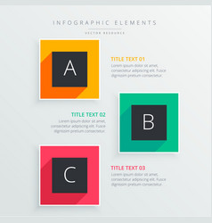 Colorful infograph of three steps with long shadow vector