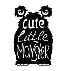 cute little monster black vector image