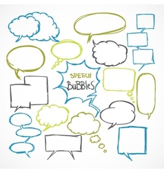Doodle comic speech bubbles set vector image vector image