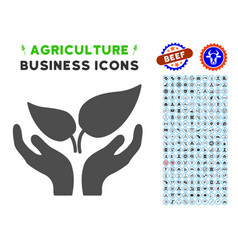 eco startup icon with agriculture set vector image