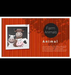Farm animal background with cow vector
